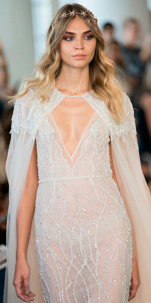 wedding dresses fall sheath ivory v neckline with princess capes 2018 berta