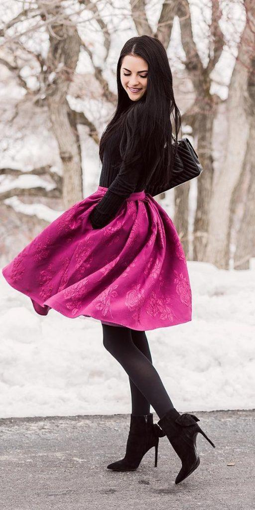 winter wedding guest dresses colored skirt with coat outdoor rachel parcell