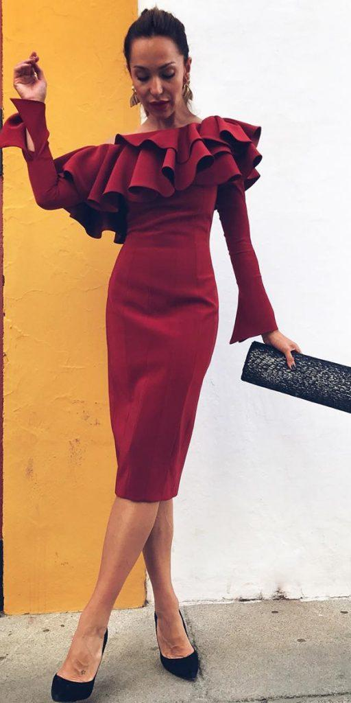 winter wedding guest dresses knee length with long sleeves burgundy fernandoclaro couture