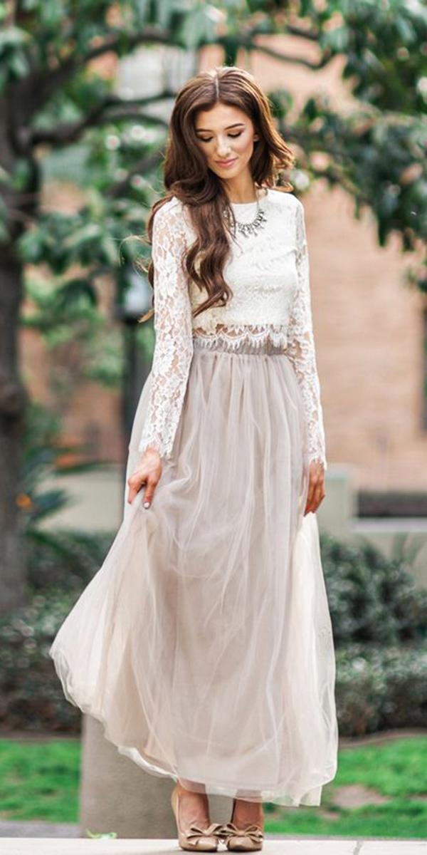 winter wedding guest dresses lace top log sleeves detached skirt maxi morning lavender