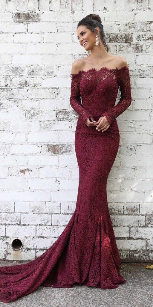 winter wedding guest dresses long with sleeves burgundy lace ellezeitoune designs