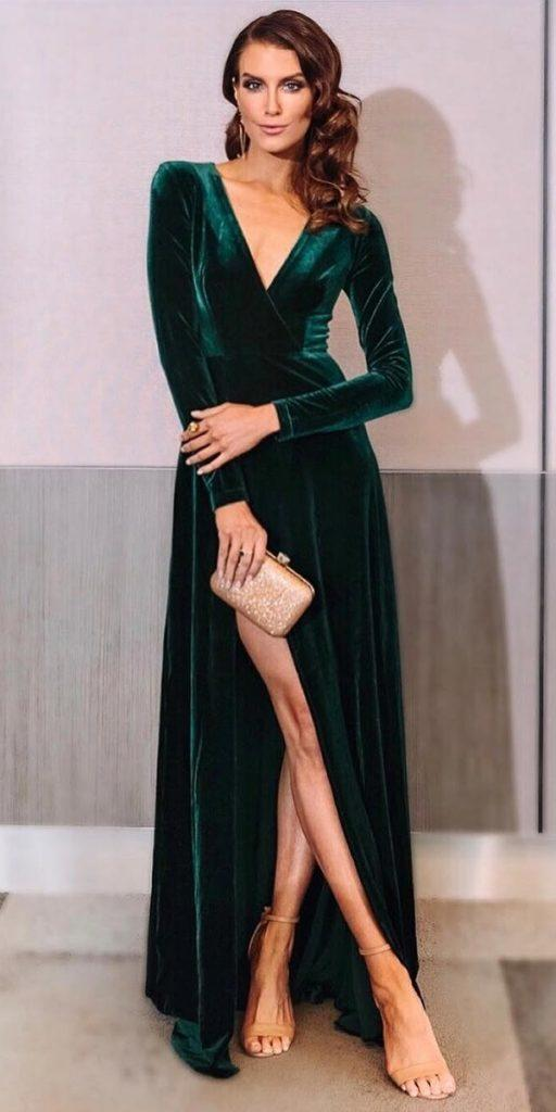 winter wedding guest dresses long with sleeves green slit ellezeitoune designs