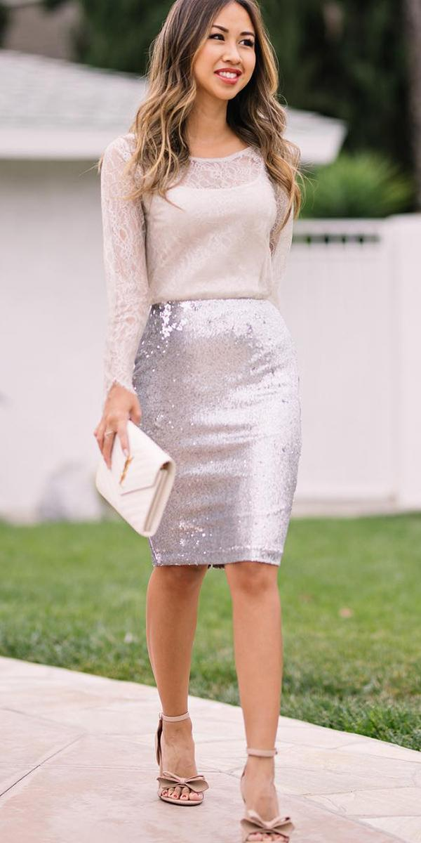winter wedding guest dresses with long sleeves sequin skirt lace and locks