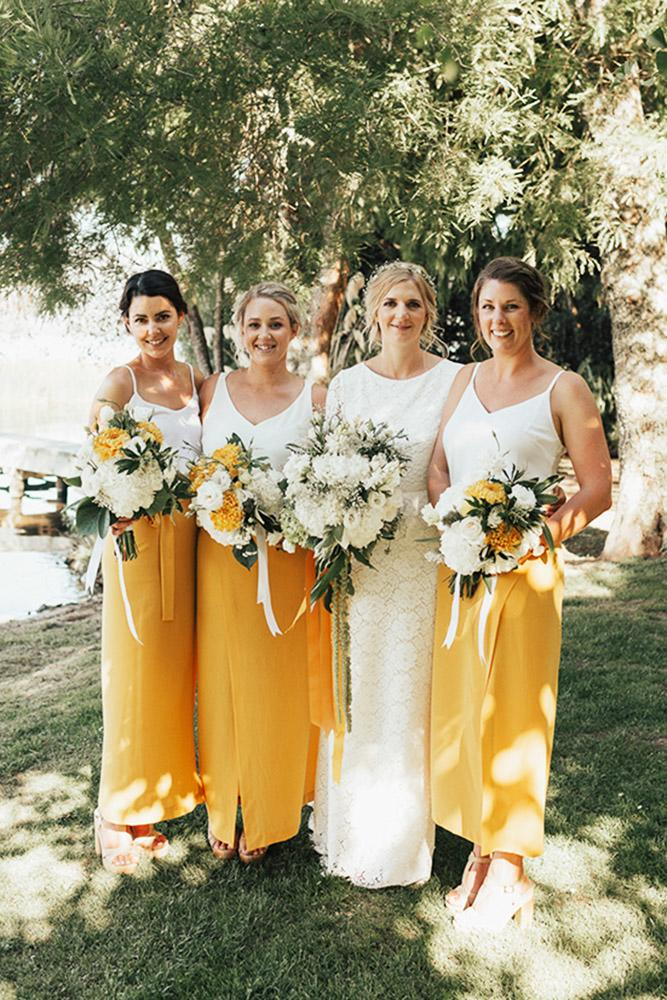 yellow bridesmaid dresses long with spaghetti strap white top bespoke photography