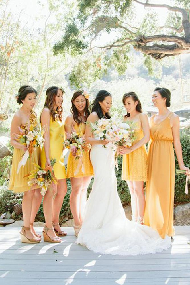 yellow bridesmid dresses short long mismatched paige jones
