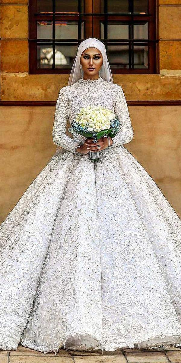 long sleeve high neck wedding dresses walid shehab