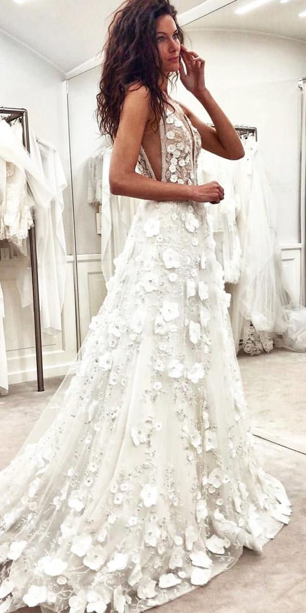alessandra rinaudo wedding dresses a line with spaghetti straps deep v neckline floral appliques real brides