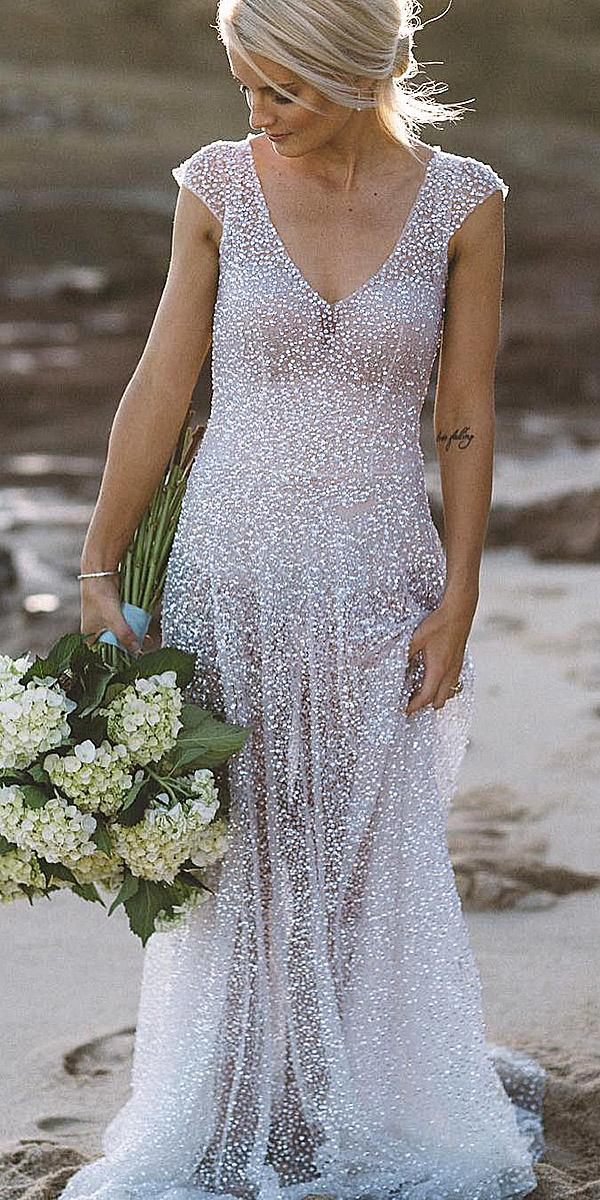anna campbell wedding dresses 2018 sheath with cap sleeves beach real bride