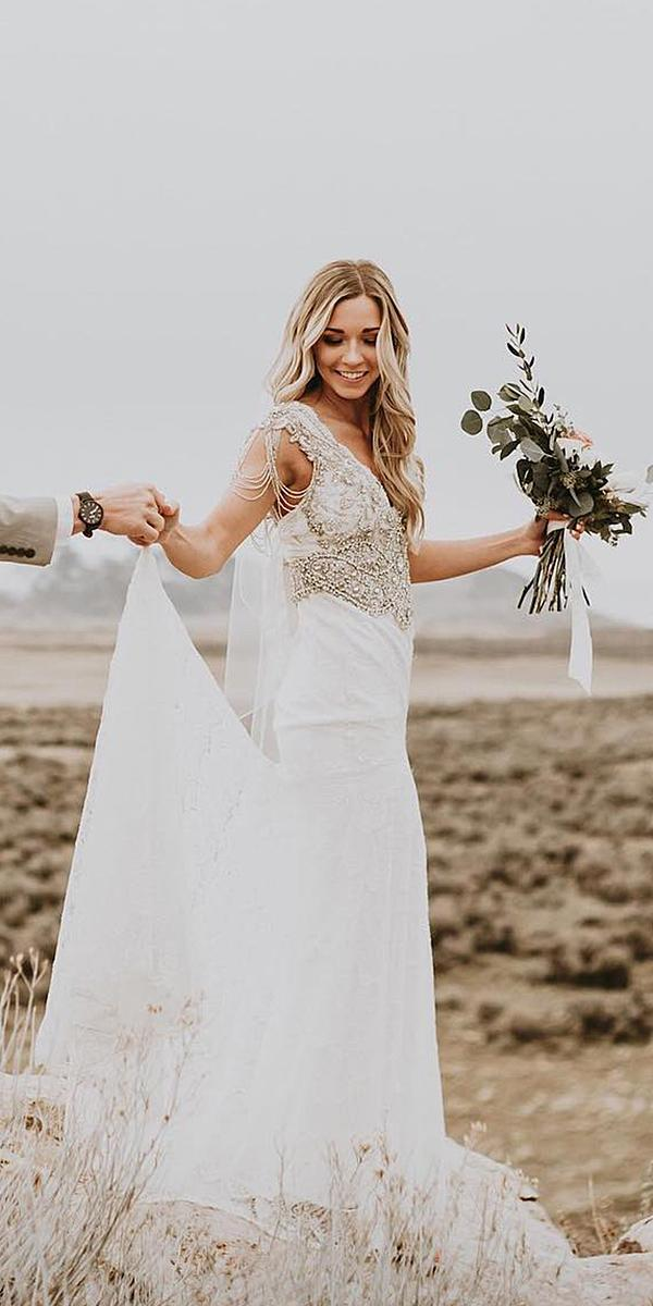 anna campbell wedding dresses 2018 with cap sleeves vintage for real bride