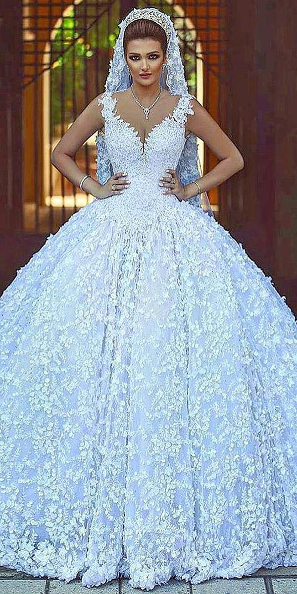ball gown sweetheart floral appliques walid shehab wedding dresses
