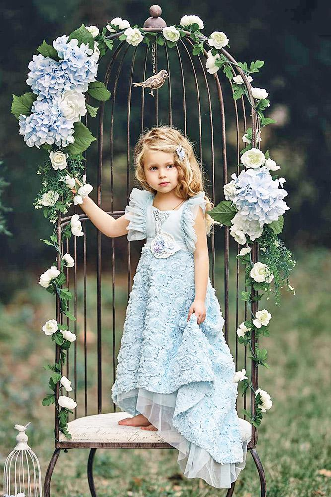 country flower girl dresses 3d floral blue old classic photography