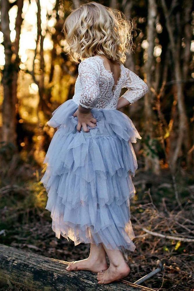 country flower girl dresses blue skirt lace top arabella and rose