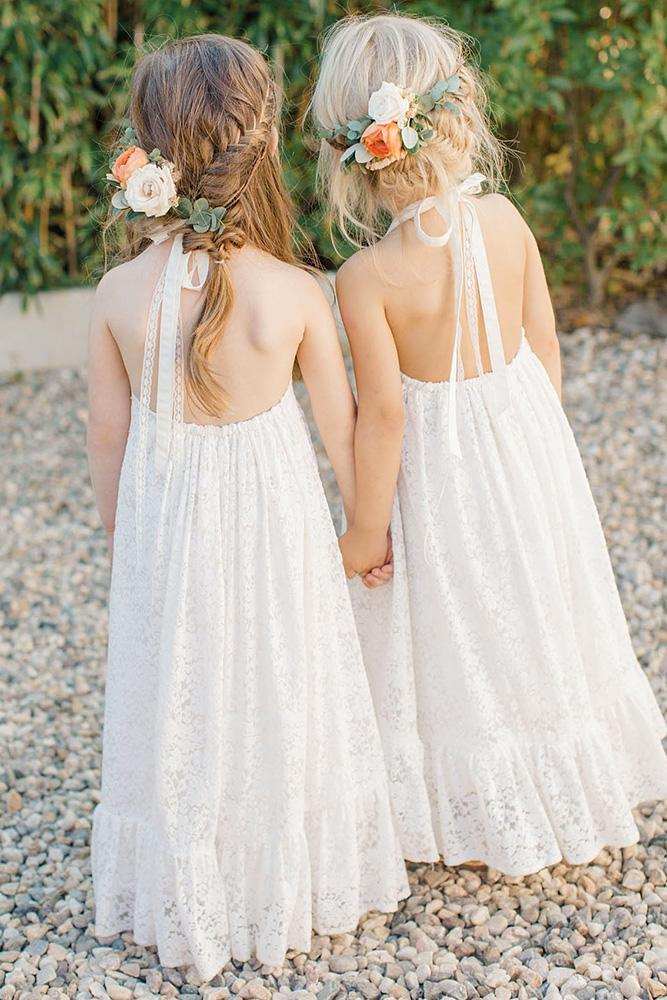 country flower girl dresses low back rustic lace lauren fair photography