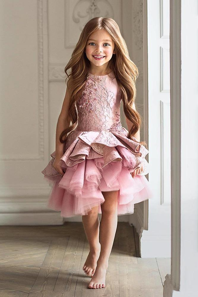 country flower girl dresses ruffled skirt pink colored misch kaaoki