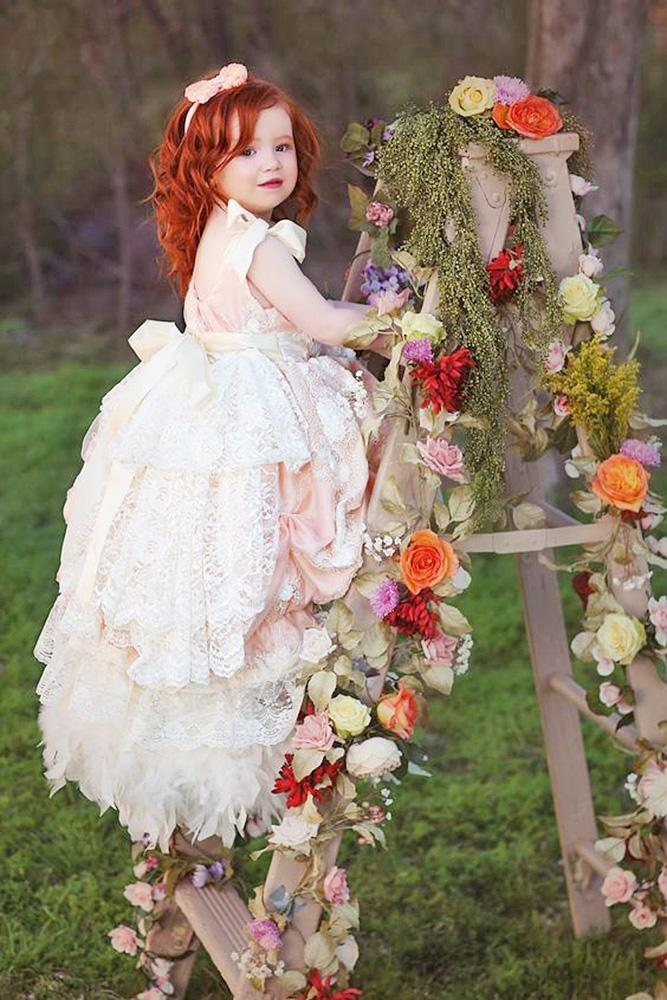 country flower girl dresses ruffled skirt with bow love baby j couture