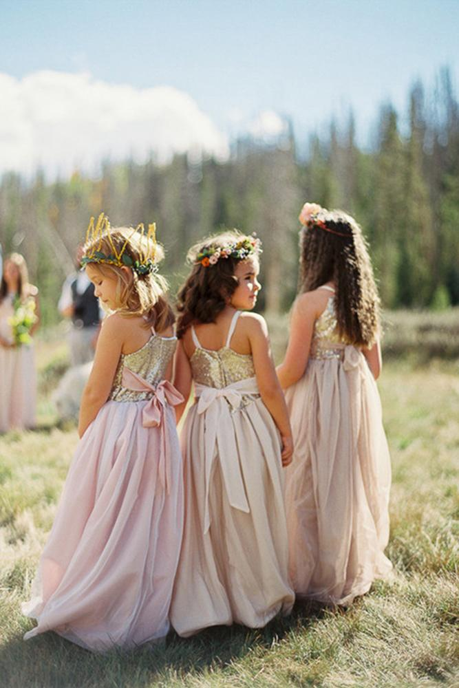 country flower girl dresses rustic gold sequins top abi q photography