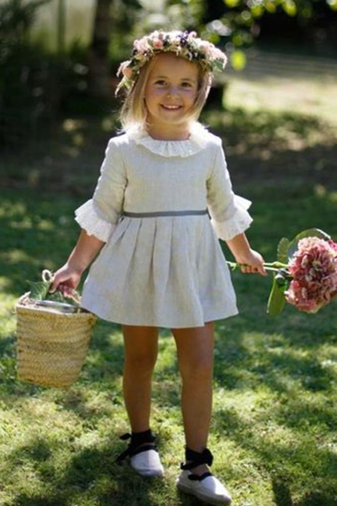 country flower girl dresses rustic with three quote sleeves oscar companioni