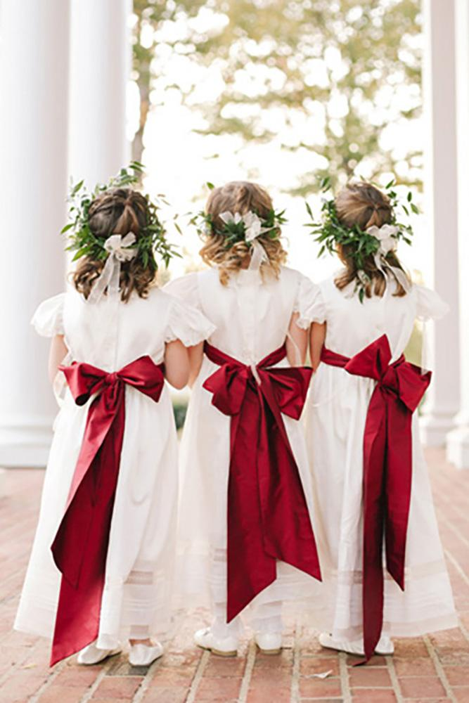 country flower girl dresses simple with red bow annabella charles