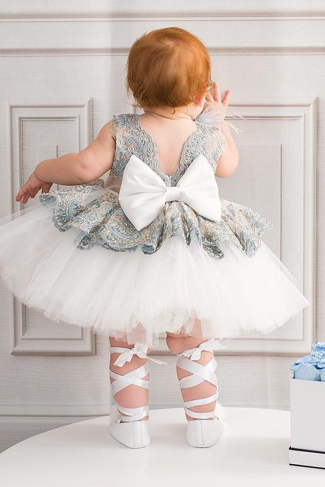 country flower girl dresses tutu skirt v back with bow itty bitty toes