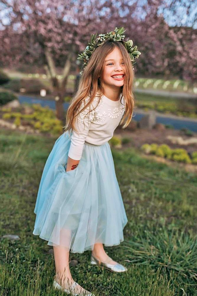 country flower girl dresses with blue tulle skirt drelowry
