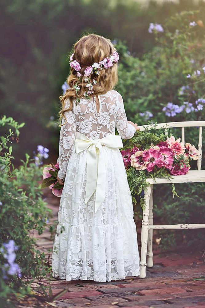 country flower girl dresses with long sleeves full lace embellishment bow old classic photography
