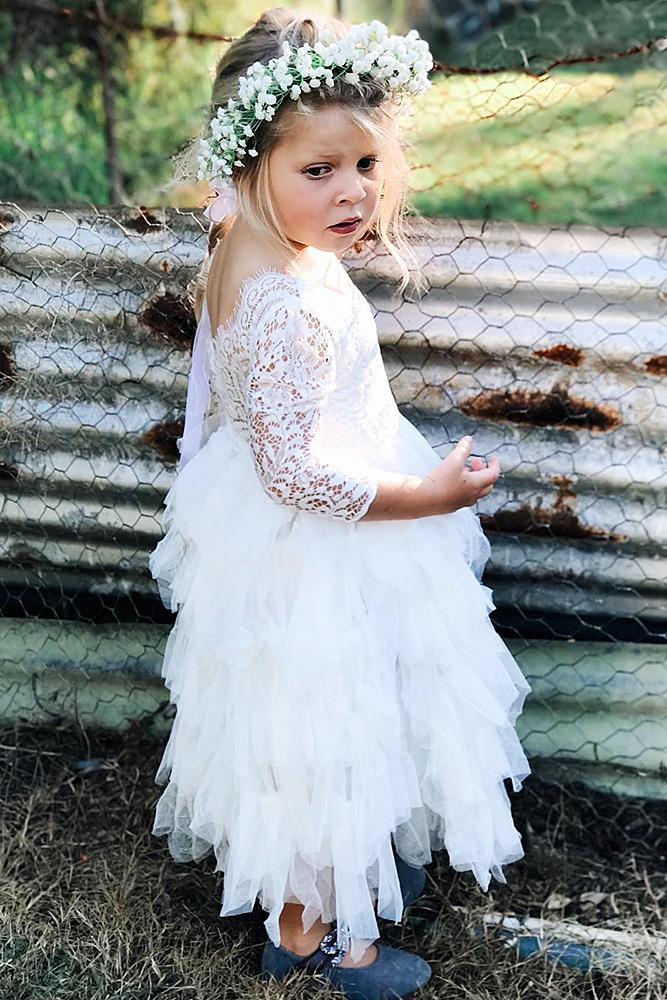 country flower girl dresses with sleevees ruffled skirt lace arabella and rose