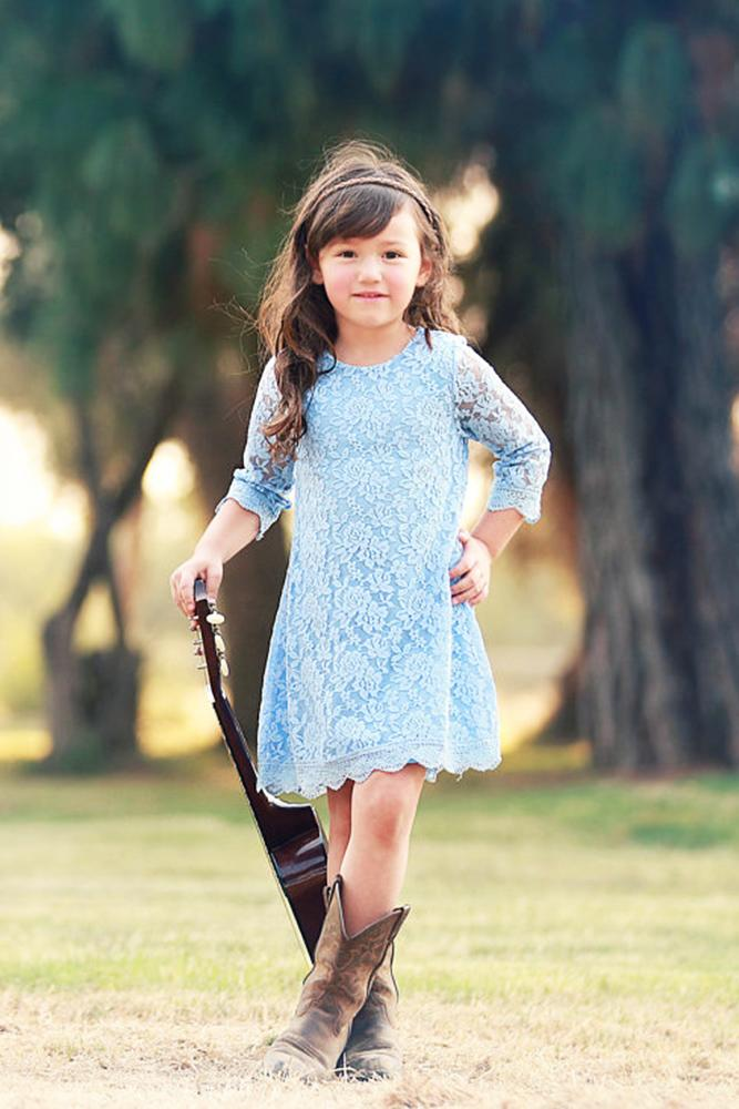 country flower girl dresses with sleeves lace blue boots kutie tuties