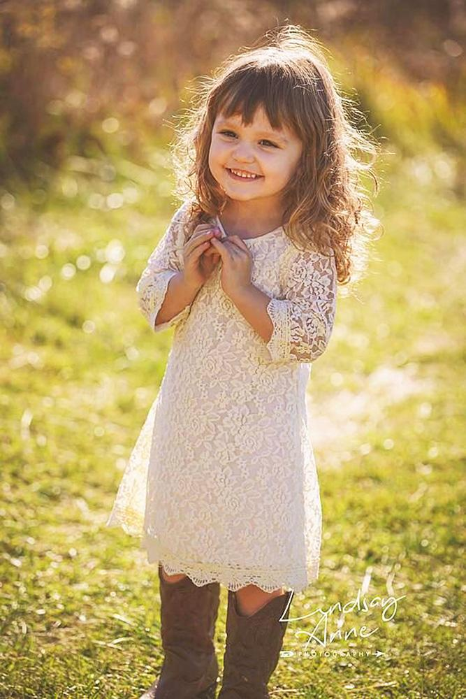 country flower girl dresses with sleeves lace embellishment lindsey anne photography