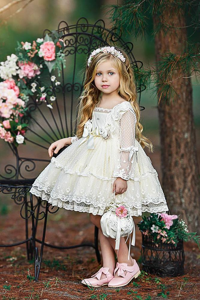 country flower girl dresses with sleeves lace short old classic photography