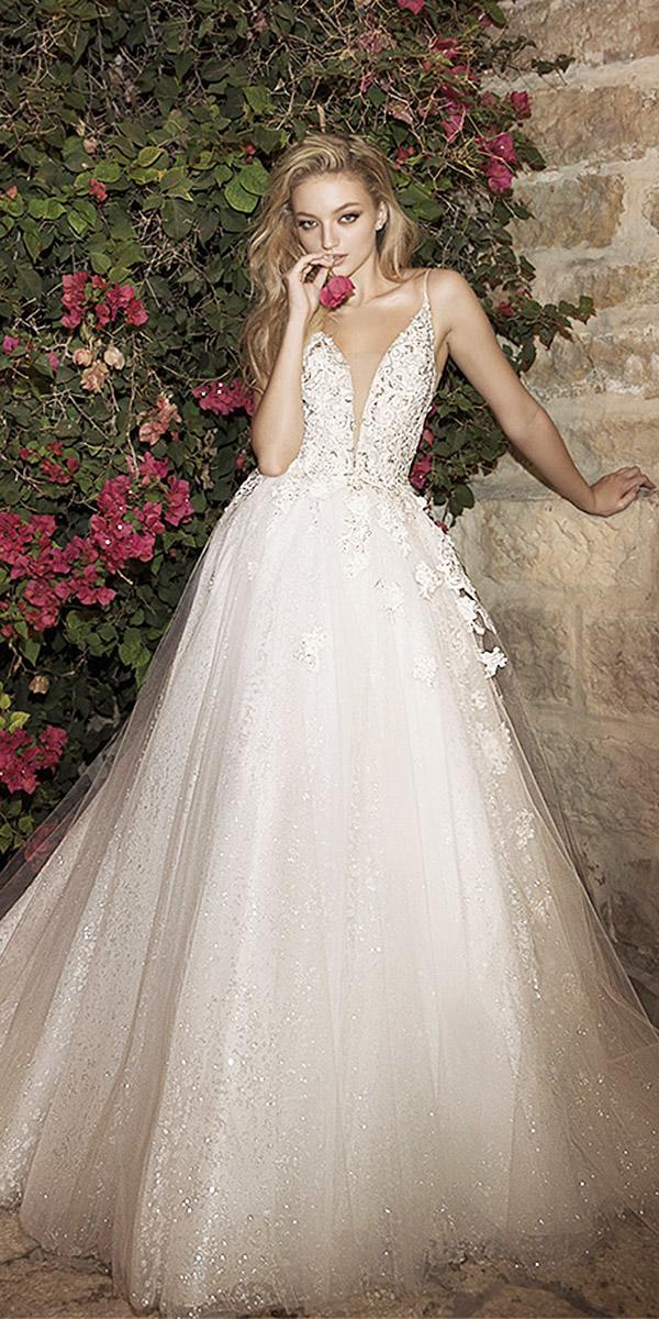 dany mizrachi wedding dresses 2018 a line v neckline floral beaded top sequins skirt