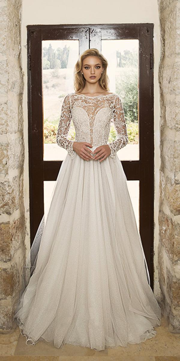 dany mizrachi wedding dresses 2018 a line with illusion long sleeves