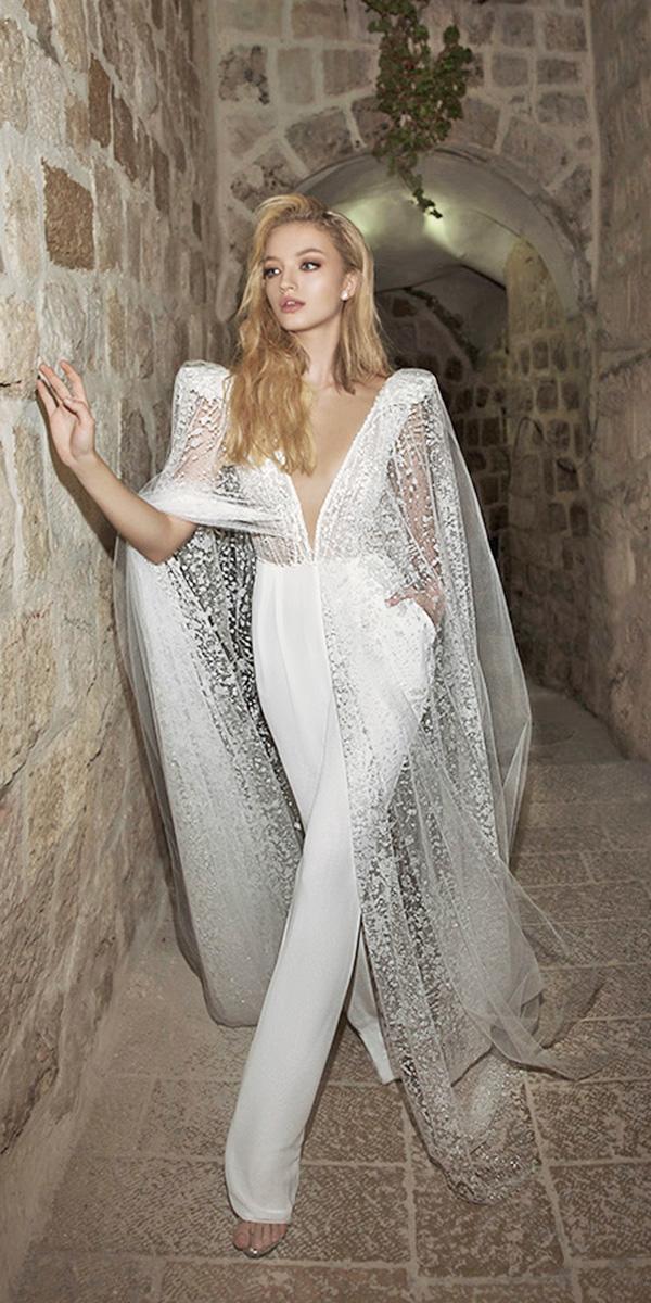 dany mizrachi wedding dresses 2018 deep v neckline trousers with sequins cape