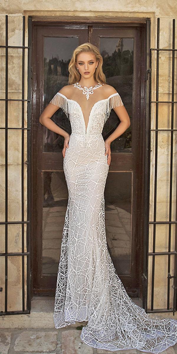 dany mizrachi wedding dresses 2018 fit fare off the shoulder deep v neckline
