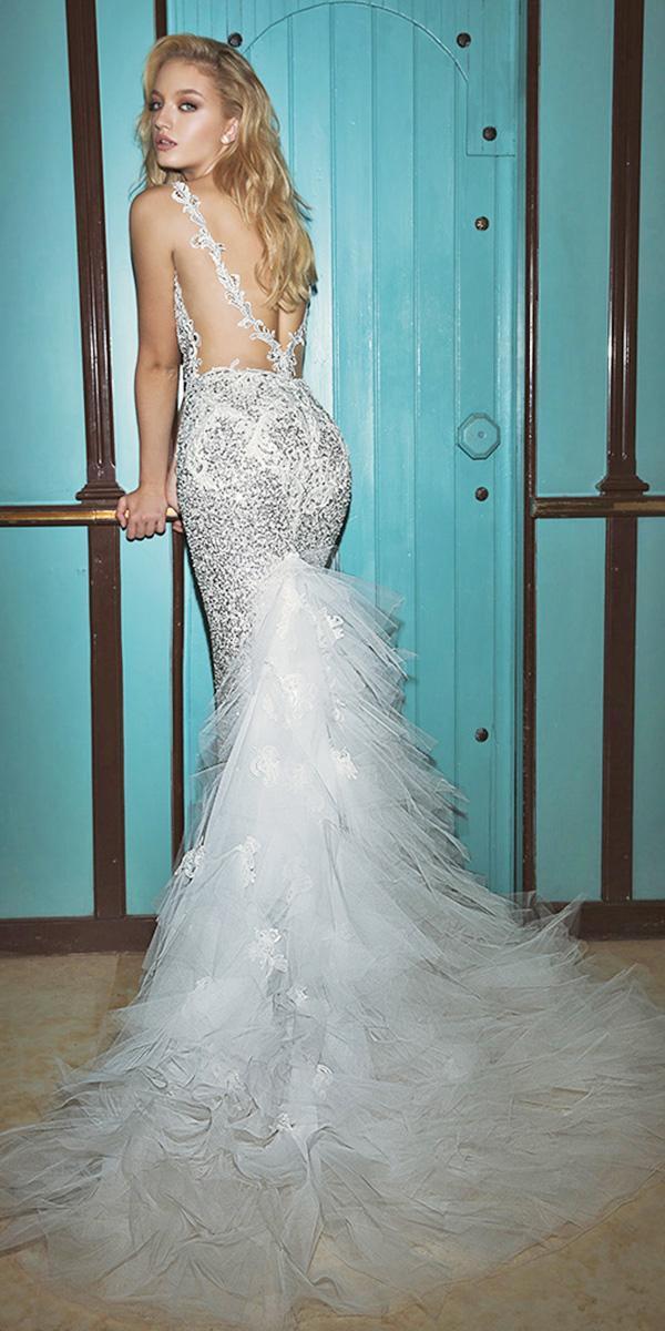dany mizrachi wedding dresses 2018 mermaid tattoo effect back sequins