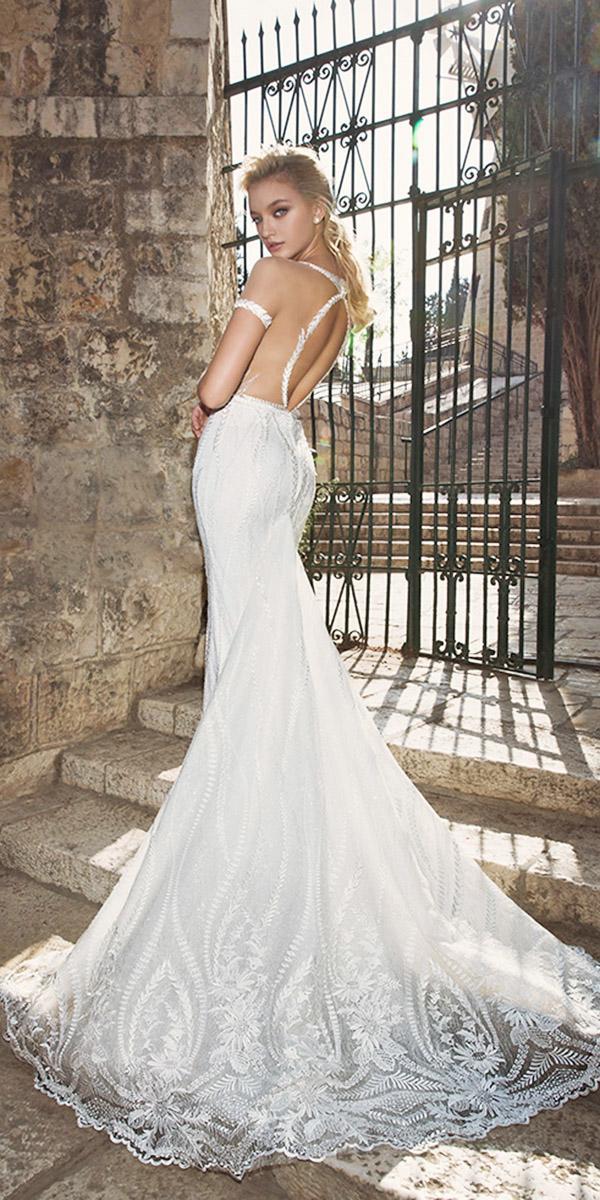 dany mizrachi wedding dresses 2018 mermaid with illusion cap slleves open back