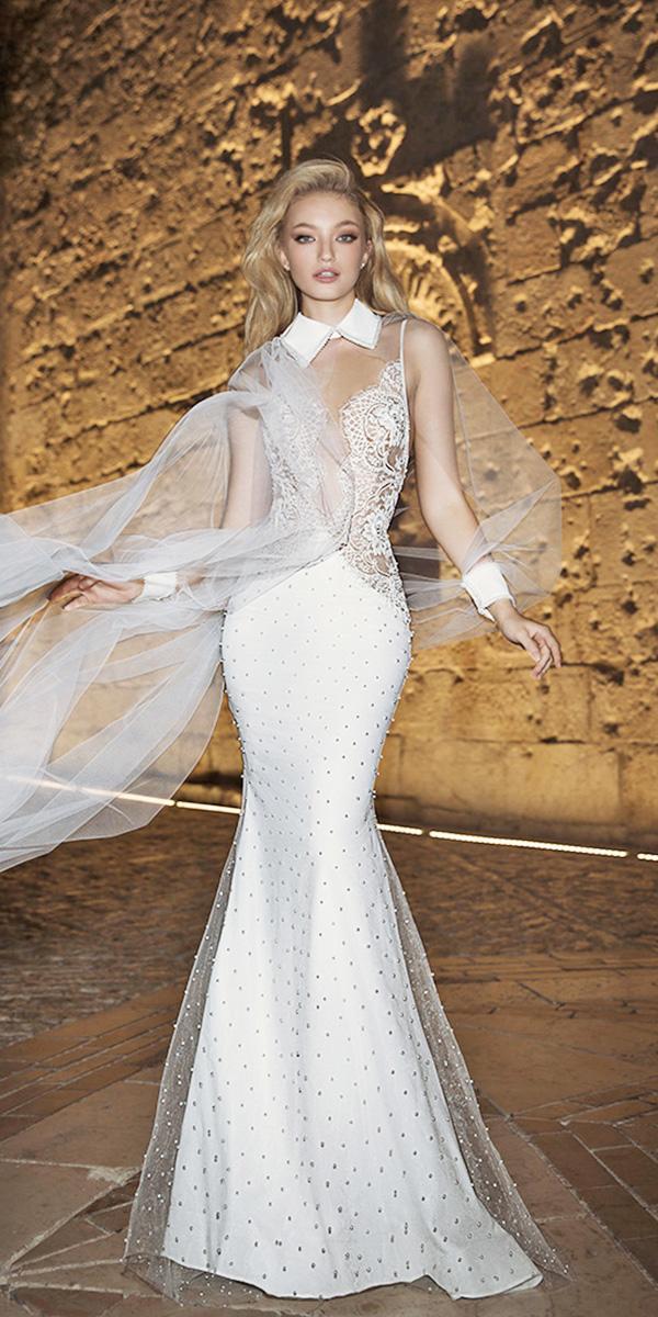 dany mizrachi wedding dresses 2018 mermaid with illusion long sleeves high neck modern