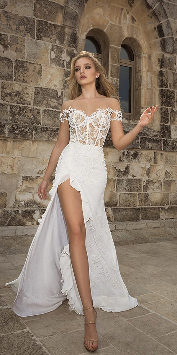 dany mizrachi wedding dresses 2018 off the shoulder sweetheart with slit