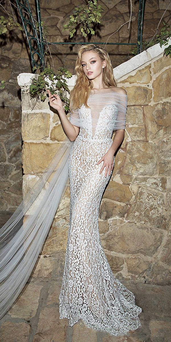 dany mizrachi wedding dresses 2018 sheath deep v neckline lace embellishment