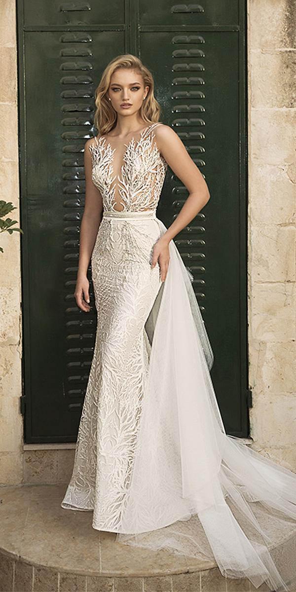 dany mizrachi wedding dresses 2018 sheath floral embellishment sleeveless