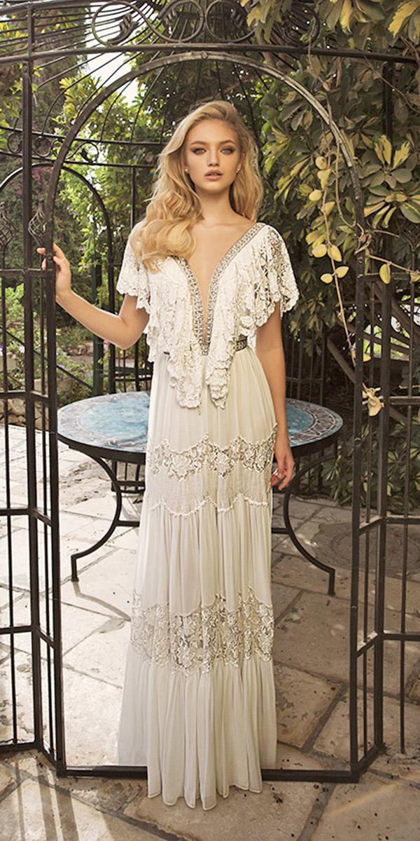 dany mizrachi wedding dresses 2018 sheath plunging neckline lace beige