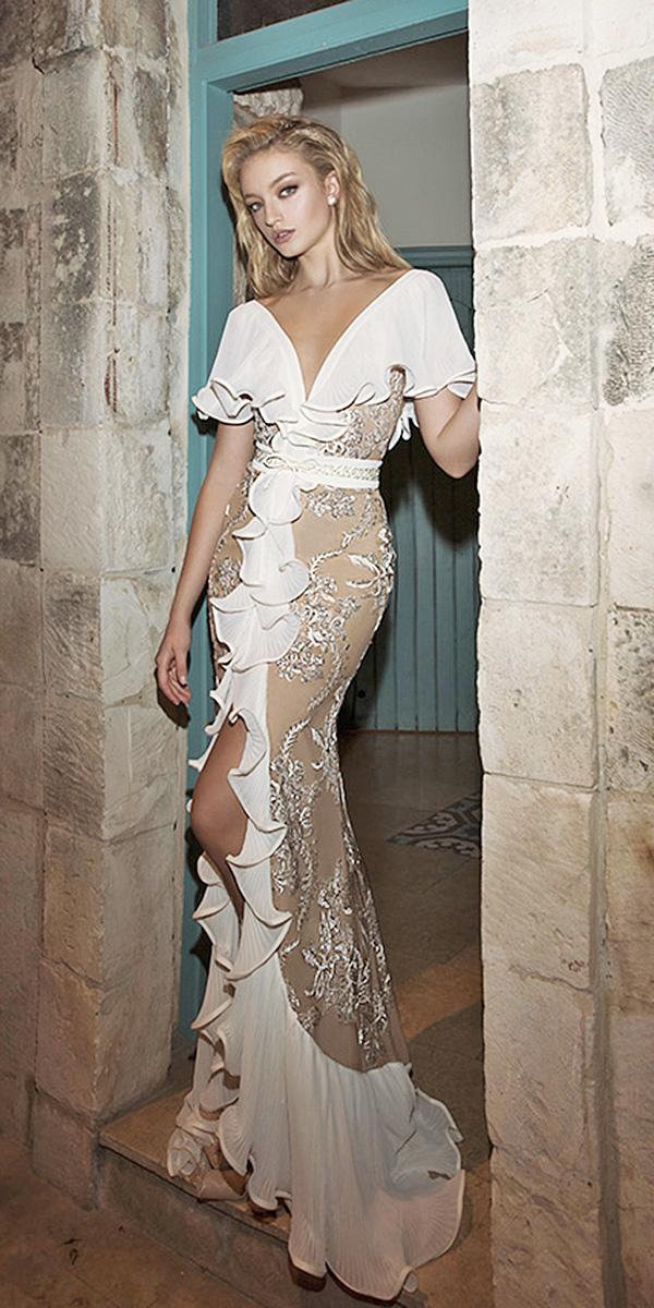 dany mizrachi wedding dresses 2018 sheath v neck beaded floral embellishment blush