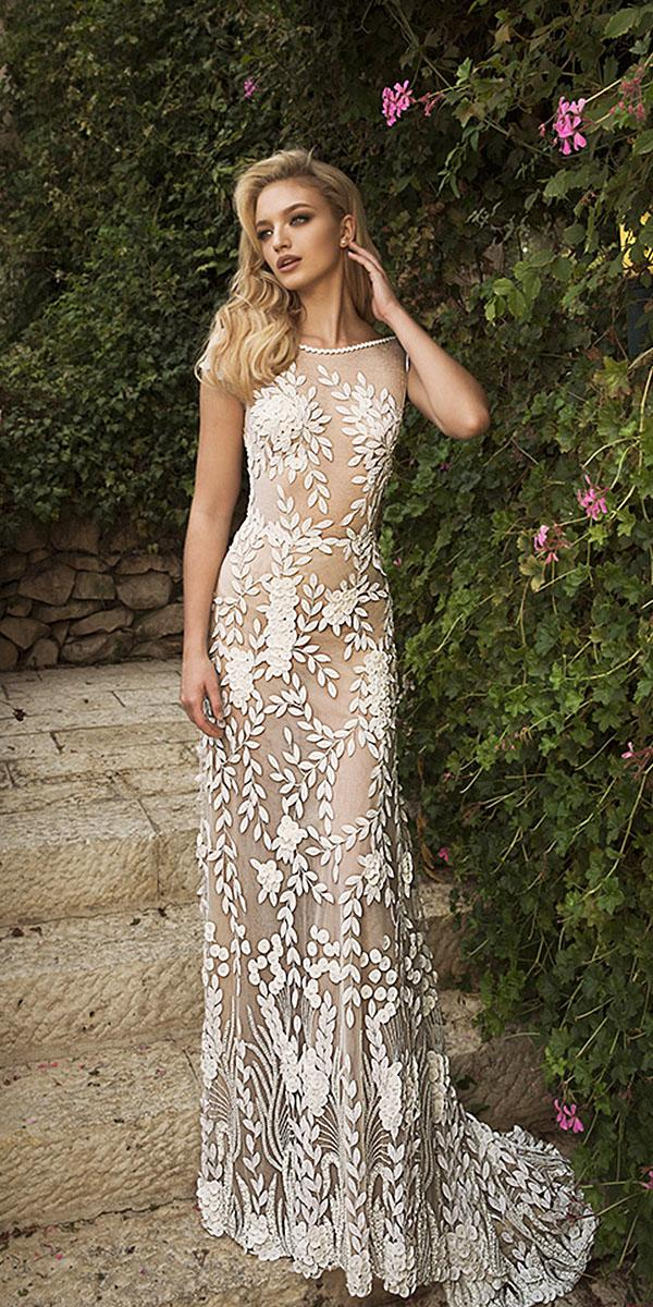 dany mizrachi wedding dresses 2018 sheath with cap sleeeves nude full floral appliques