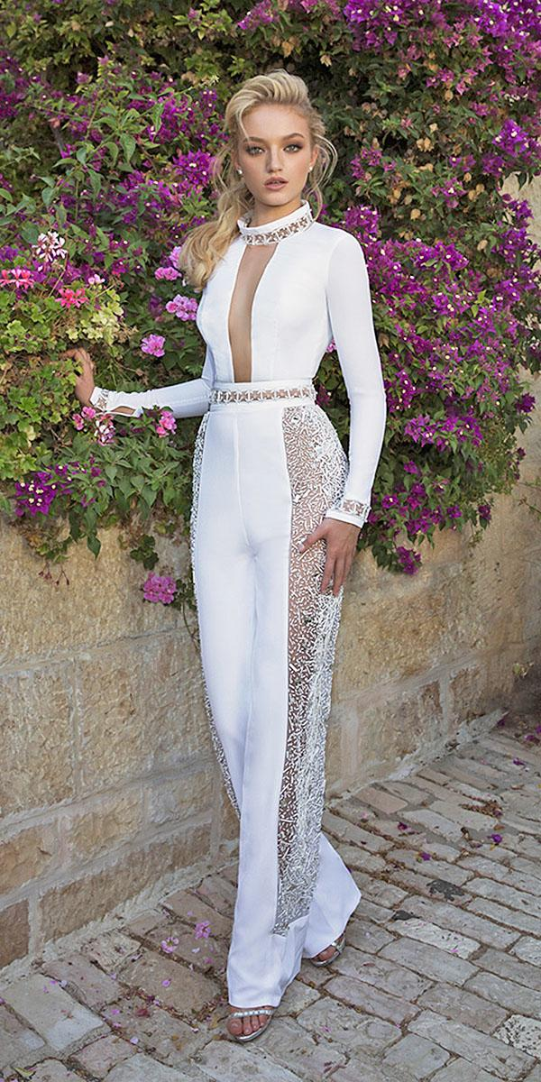dany mizrachi wedding dresses 2018 with long sleeves jewel neck trousers modern