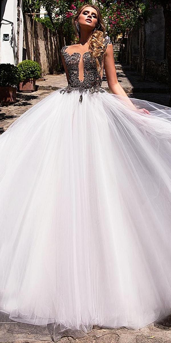 diantamo wedding dresses a line illusion top tulle skirt purple accents