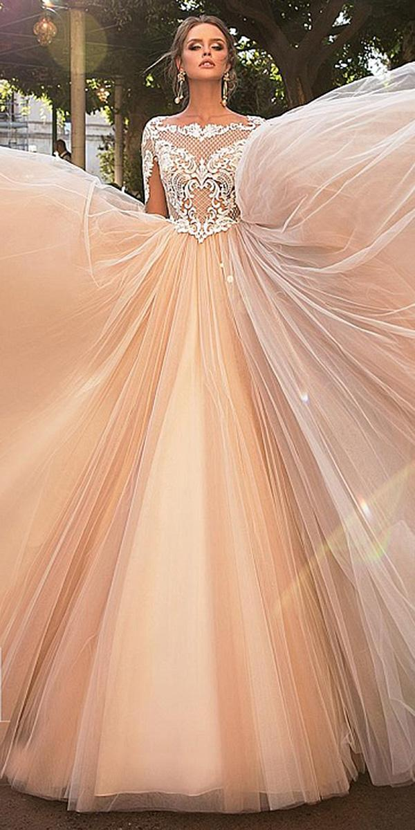 diantamo wedding dresses a line with illusion lace sleeves blush skirt