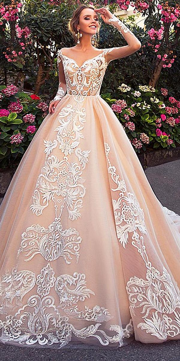 diantamo wedding dresses a line with illusion long sleeves lace embellishment blush