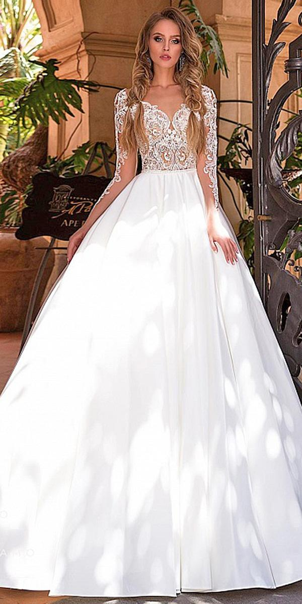 diantamo wedding dresses a line with illusion slleves lace top