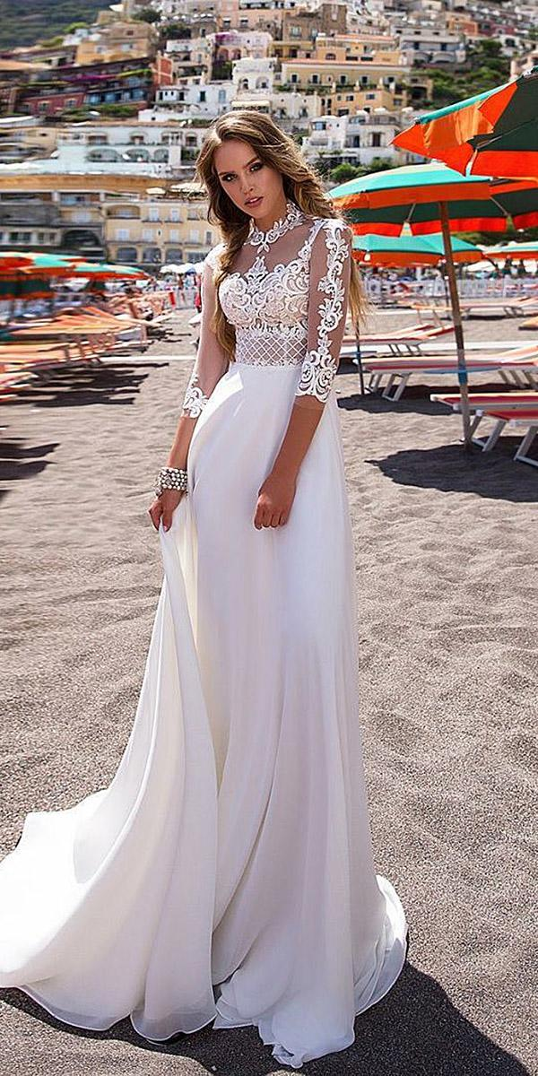 diantamo wedding dresses sheath lace top with illusion sleeves high neck satin