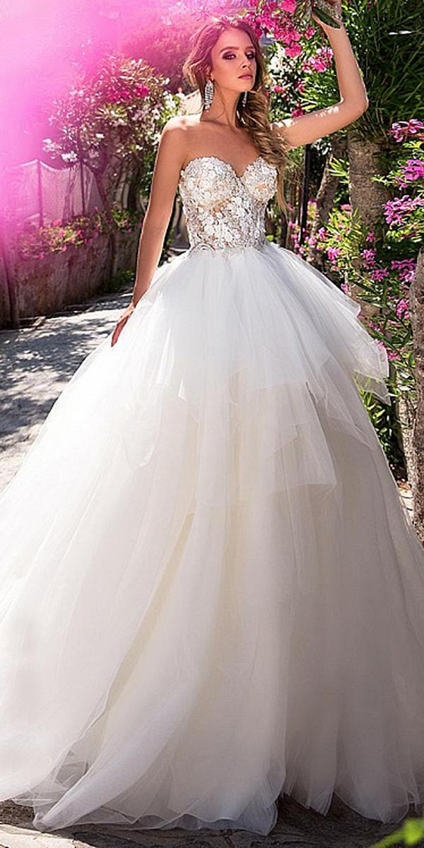 diantamo wedding dresses ball gown sweetheart lace floral top ruffled skirt