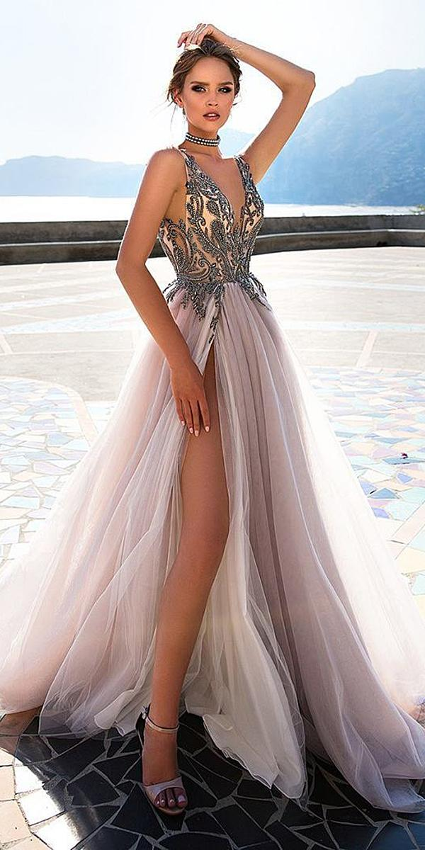 diantamo wedding dresses deep v neckline beaded top slit purple skirt